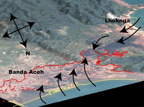 Map showing water pathways and inundation extent in Banda Aceh