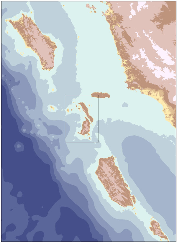 Bathymetry grid created by digitizing nautical charts and running spatial interpolation model