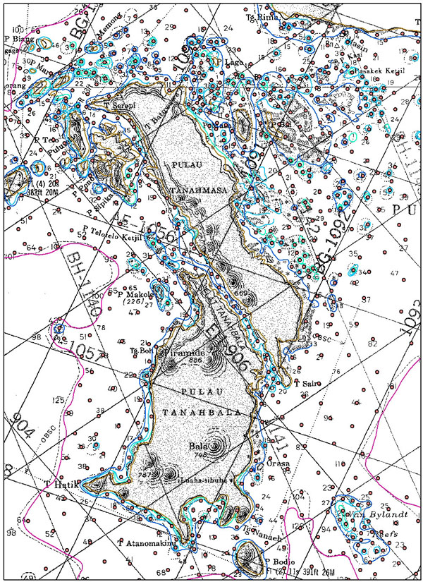 Example nautical chart used to create bathymetry grid