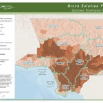 Catchment Prioritization Index for Los Angeles County catchments, with darker areas representing higher need for stormwater treatment