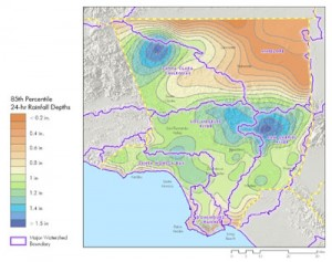 Precipitation 85th percentile isohyet map for Los Angeles County, used as input for the SBPAT model