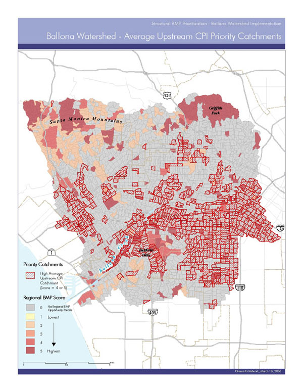 Regional BMP Score catchment map for the Ballona Creek Watershed